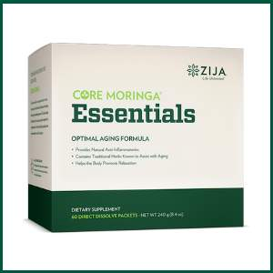 zija core moringa essentials optimal aging formula provides natural anti-inflammatories, contains traditional herbs known to assist with aging, and helps the bod promote relaxation