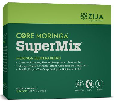 zija core moringa supermix moringa oleifera blend contains a proprietary blend of moringa leaves, seeds, and fruit, moringa's vitamins, minerals, proteins, antioxidants and omega oils, and is portable and easy-to-open for natural nutrition on the go